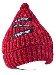 Letter Patch Label Knitted Beanie - WINE RED