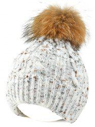 Fuzzy Ball Flanging Knitted Beanie -