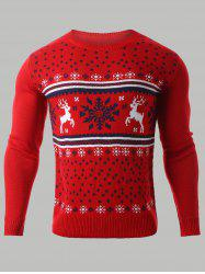 Snowflake Deer Jacquard Round Neck Sweater - RED