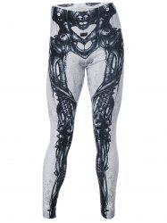 Skeleton Print High Waist Leggings -