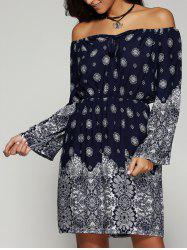 Off The Shoulder Print Summer Dress with Sleeves - PURPLISH BLUE