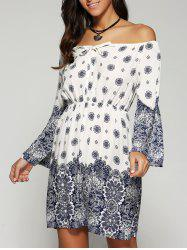 Off The Shoulder Print Summer Dress with Sleeves