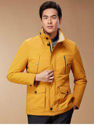 Zip Up Button Pocket Jacket ODM Designer - YELLOW 3XL