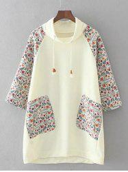 Plus Size Raglan Sleeves Printed Dress - WHITE 3XL