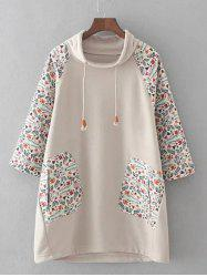 Plus Size Raglan Sleeves Printed Dress