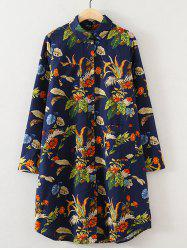 Plus Size Linen Floral Print Shirt Dress