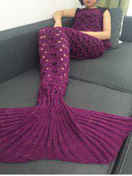 Heart Hollow Out Crochet Knitting Mermaid Tail Style Blanket