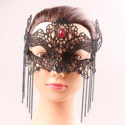 Mystical Half Face Lace Hollow Out Chains Zircon Masquerade Masks - BLACK