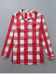 Plus Size Checkered Print Buttoned Shirt - RED 4XL
