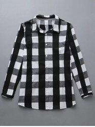 Plus Size Checkered Print Buttoned Shirt -