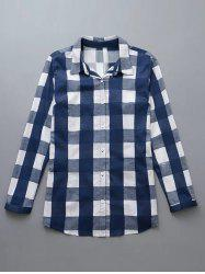 Plus Size Checkered Print Buttoned Shirt