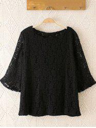 Plus Size Laciness Flare Sleeves Blouse - BLACK 4XL