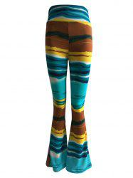 High Waist Hit Color Trumpet Pants -