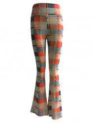 High Waist Checkered Print Trumpet Pants