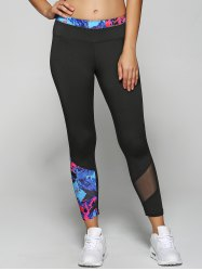 Meash Insert Stretchy Floral rapide Leggings sec - Noir