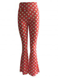 High Waist Polka Dot Print Trumpet Pants -