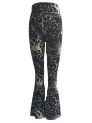 High Waist Leopard Trumpet Pants - BLACK 3XL
