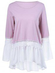 Lace Patchwork High Low Hem Falbala Blouse -