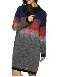 Zigzag Argyle Print Tunic Knitted Jumper Dress - COLORMIX