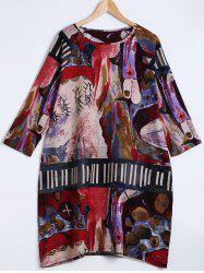 Raglan Sleeve Abstract Print Loose Dress