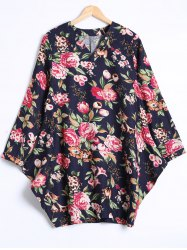 V Neck Floral Loose Dress -