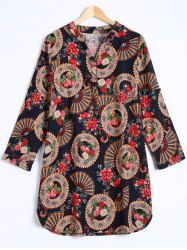 Ethnic Floral Buttoned Dress