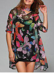 Asymmetric Butterfly Print Blouse With Tank Top -