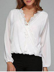 Wrap Lace Panel Cotton Blouse - WHITE