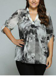 Plus Size Adjustable Sleeve Ink Painting Blouse - GRAY
