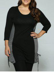 Plus Size Tie-Pockets Long Blouse -
