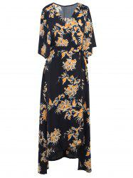 Floral Printed Tied Wrap Maxi Dress - BLACK 2XL