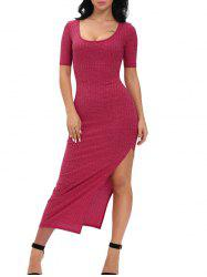 Ribbed Slit Midi Club Bodycon Dress - WINE RED
