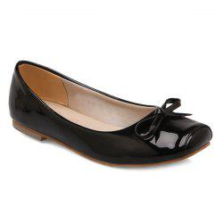 Patent Leather Square Toe Bowknot Flat Shoes
