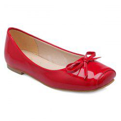 Patent Leather Square Toe Bowknot Flat Shoes - RED