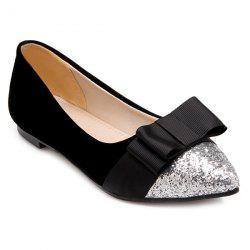 Glitter Color Block Bow Flat Shoes - BLACK