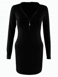 Long Sleeve V Neck Mini Bodycon Dress