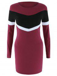 Long Sleeve Color Block Bodycon Dress - WINE RED