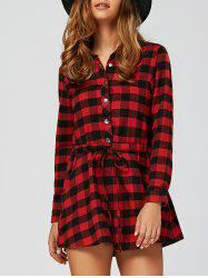 Long Sleeve Drawstring Plaid Shirt Dress - RED