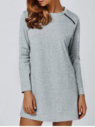 Long Sleeve T Shirt Dress - GRAY