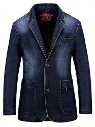 Lapel Single-Breasted Bleach Wash Vintage Denim Coat
