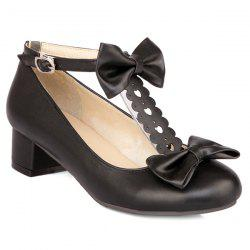 Hollow Out Double Bow T-Strap Pumps - BLACK