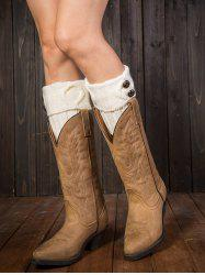 Warm Buttons Rhombus Flanging Boot Cuffs - WHITE