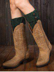 Warm Buttons Rhombus Flanging Boot Cuffs - BLACKISH GREEN