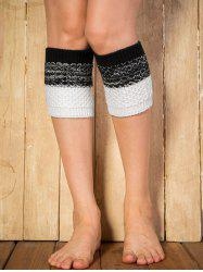 Warm Color Block Yoga Crochet Knit Boot Cuffs - BLACK