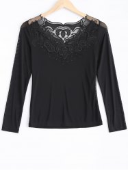 Lace Spliced Beading T-Shirt -