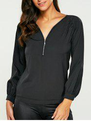 Zippered Chiffon Blouse - BLACK XL