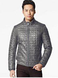 Geometric Zip Up Padded Jacket ODM Designer - BROWN GREY