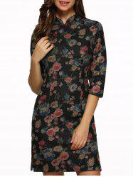 Vintage Embroidered Floral Qipao Dress -