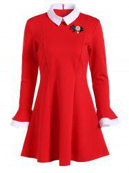 Mini Color Block Fit and Flare Dress - RED 2XL