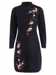 Embroidered Knitted Cheongsam Dress -
